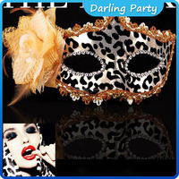 plastic Leopard halloween masks with flower
