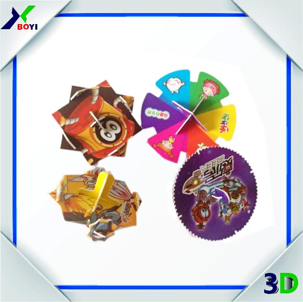 Chocolate promotion 3d puzzle diy toy plastic spinning top toy
