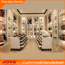 Customized white MDF clothes display cabinet unisex kids clothing store interior design