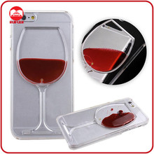 Newest Hard Plastic Transparent Flowing Liquid Red Wine Goblet Case For Iphone 6 Plus