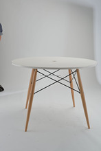 modern design wood legs white plastic dining table or coffee table