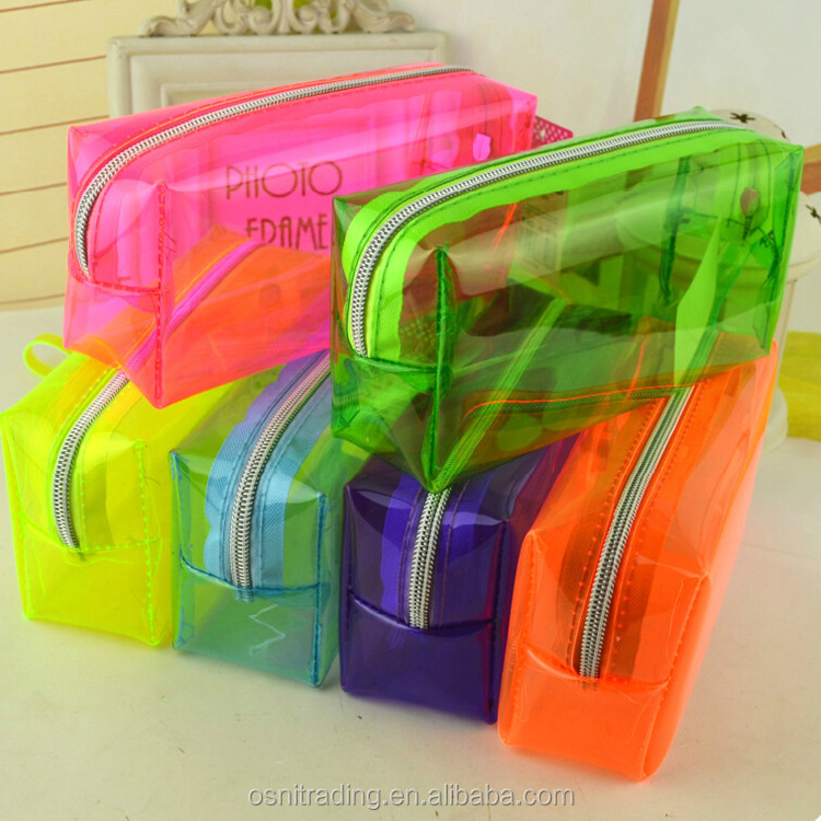 Osni fashion stationary clear fluorescent PVC pencil case