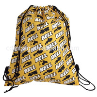 Polyester school drawstring bag recycled custom foldable waterproof drawstring shopping polyester bag