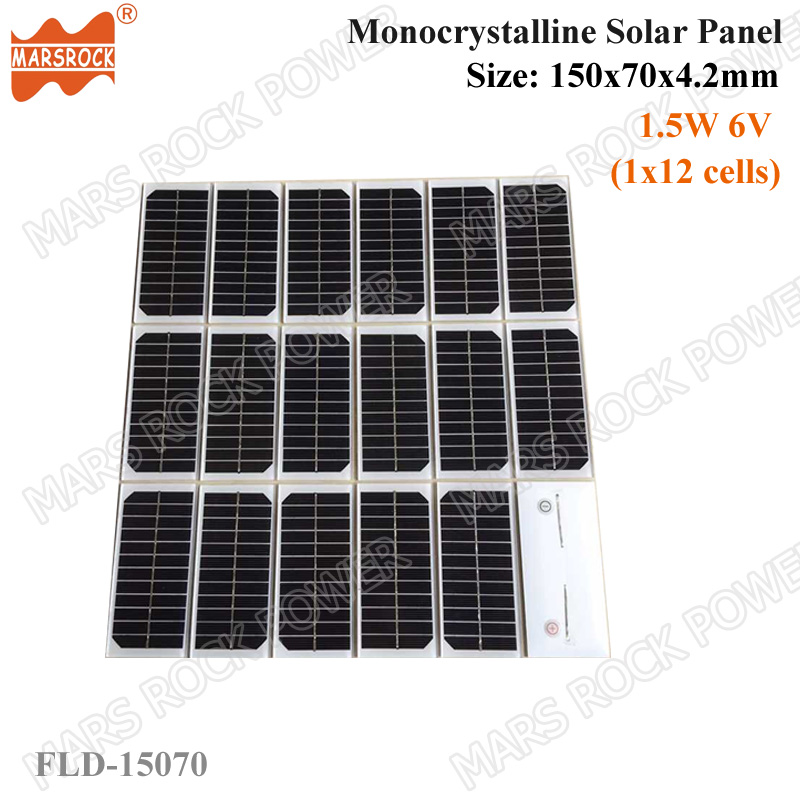 1.5W 6V 150x70x4mm Tempered Glass Laminated Small monocrystalline Solar Panel without Frame with 25 years Long Life-span