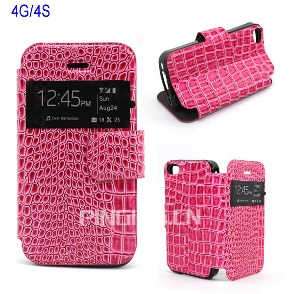 Wholesale Stand Window View Noble Crocodile Leather Flip Case for Iphone 4