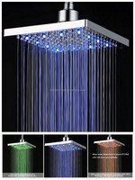 "8"" square LED color rainfall shower head"