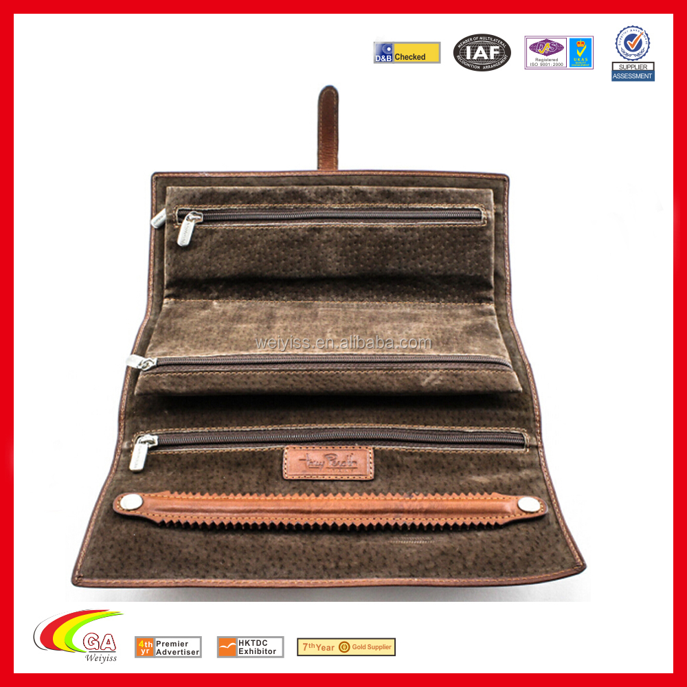 Lady's jewelry roll soft <strong>leather</strong>, customized <strong>leather</strong> jewelry roll, wholesale jewelry roll bag