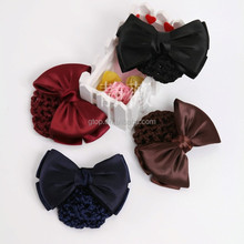 double layer satin snood bun cover hair net with bowknot 14