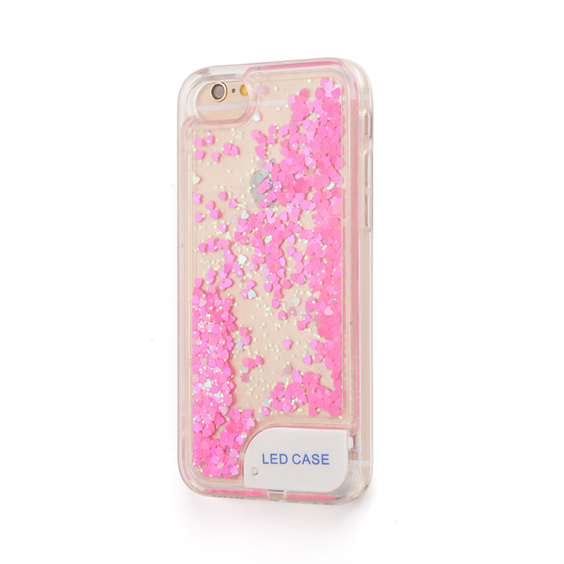 LED light Beautiful Quicksand Heart TPU Cell Phone Cover for Iphone Liquid Flow Case