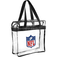 Promotional cheap clear tote bag with zippered top closure