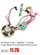 6V Music Chip + Speaker + Colorful Lamp Music Circuit Board Sound Voice Module For Baby Motorcycle D7.7cm 8ohm 2-3W Toy Car