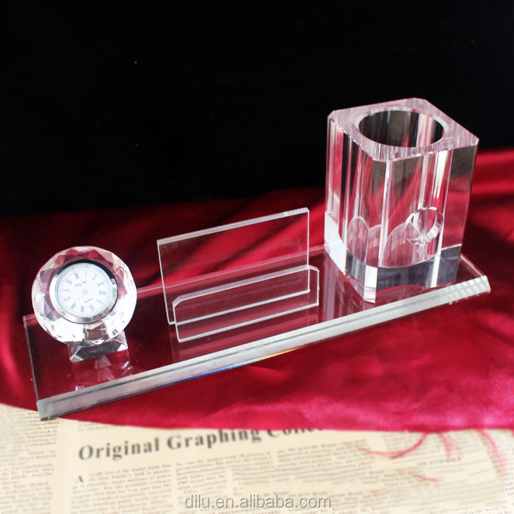luxurious handmade office stationary crystal glass pen holder with clock for business for home decoration