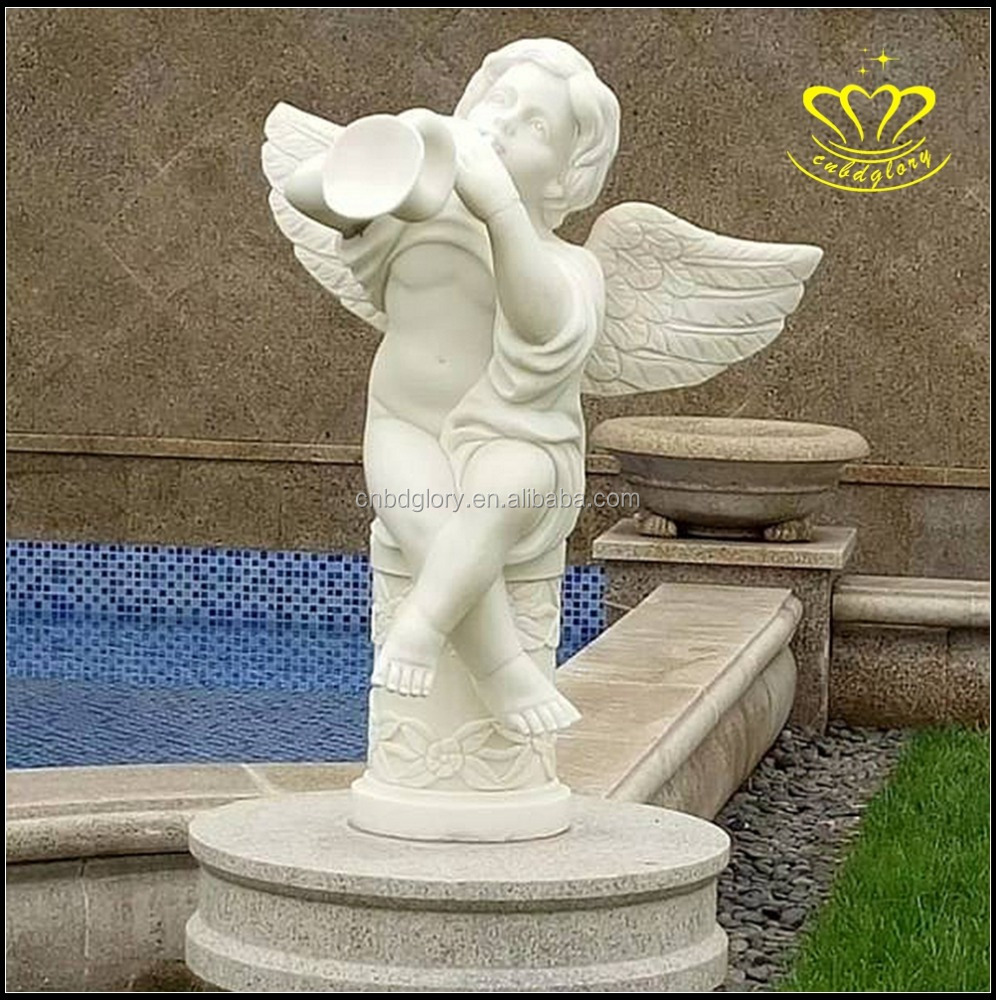 Natural hand stone carving small angel marble statues