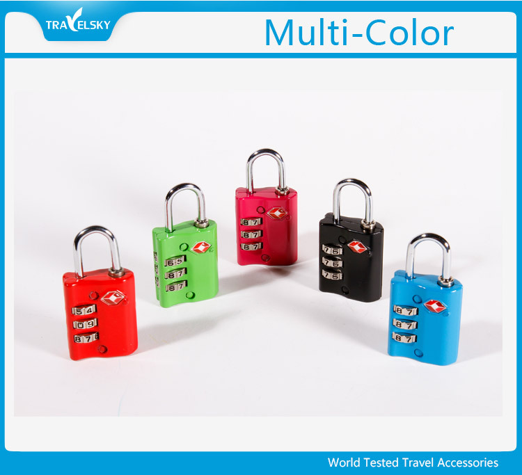 13005 Luggage TSA Approved 3 Dial Zinc Alloy Change Combination Padlock