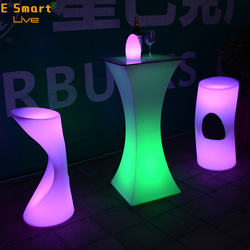 Modern unique Led Bar Table Plastic Cocktail Table Led Furniture