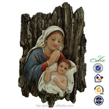Resin Maria with baby Jesus wooden religious statues