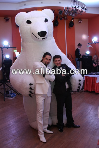 Inflatable fur mascot costume White Bear 3m