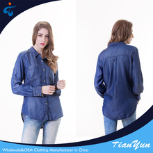 Factory supplier cheap denim woven fashion cutting blouse design