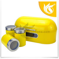 2014 High Quality New Design Yellow Metal Stainless Steel Tin Bread bins