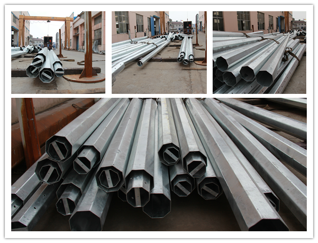Galvanized steel electric pole & telecommunications monopole,galvanized monopole,telecommunication pole
