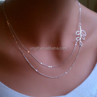 Double Layers Leaf Chain Necklaces Double