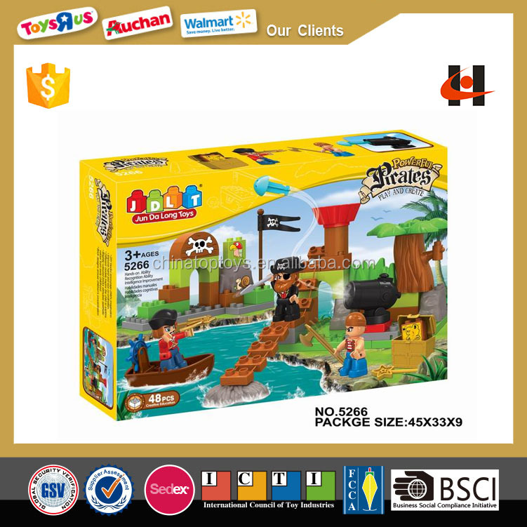 new large plastic kids toys intelligence Pirate Island building block