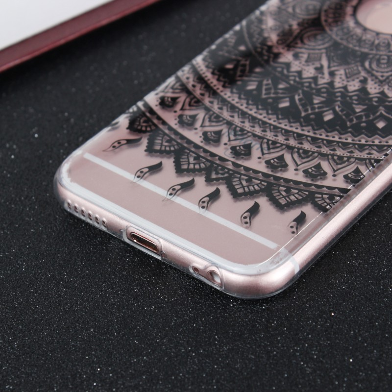 Mandala TPU Gel Mobile Back Cover Rubber Silicone Case For iPhone 5s 5 S SE 6 6s 7 8 Plus X Cover Transparent