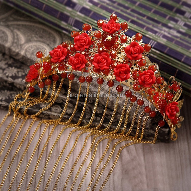 Retro Chinese Traditional Wedding Jewelry Silver Plated Adorn Hair Accessories Queen Hanfu Crown Tiaras