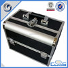 MLD-CC763 Black New Double Open Sturdy Aluminum Cosmetics Jewelry Storage Makeup Train Vanity Case