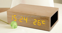 New style wood bluetooth speaker+qi wireless charger+clock+alarm+thermometer
