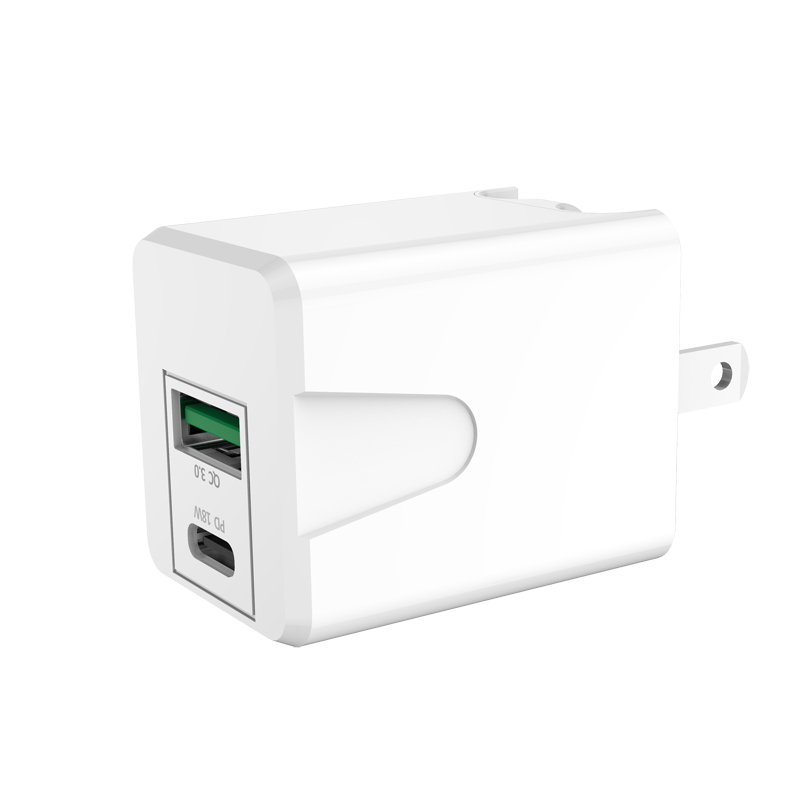 USB-C Power Adapter 18W PD QC3.0 Fast Charge ETL PSE Listed Wall Charger Foldable US Plug