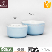 H11534 light blue glazed round porcelain ceramic flat bottom bowl