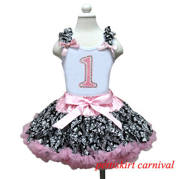 1st Birthday Tank Top Light Pink Demask Pettiskirt 2pc Party Dress