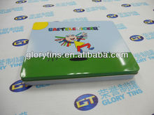 rectangular gift tin box with cartoon image on lid
