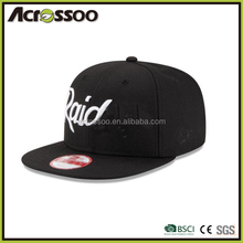 6-panel brand name 3d embroidery snapback flat brim cap
