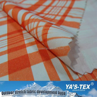 92 polyester 8 spandex orange and white plaid printing fabric