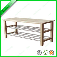 Most popular bench wood shoe rack for sell