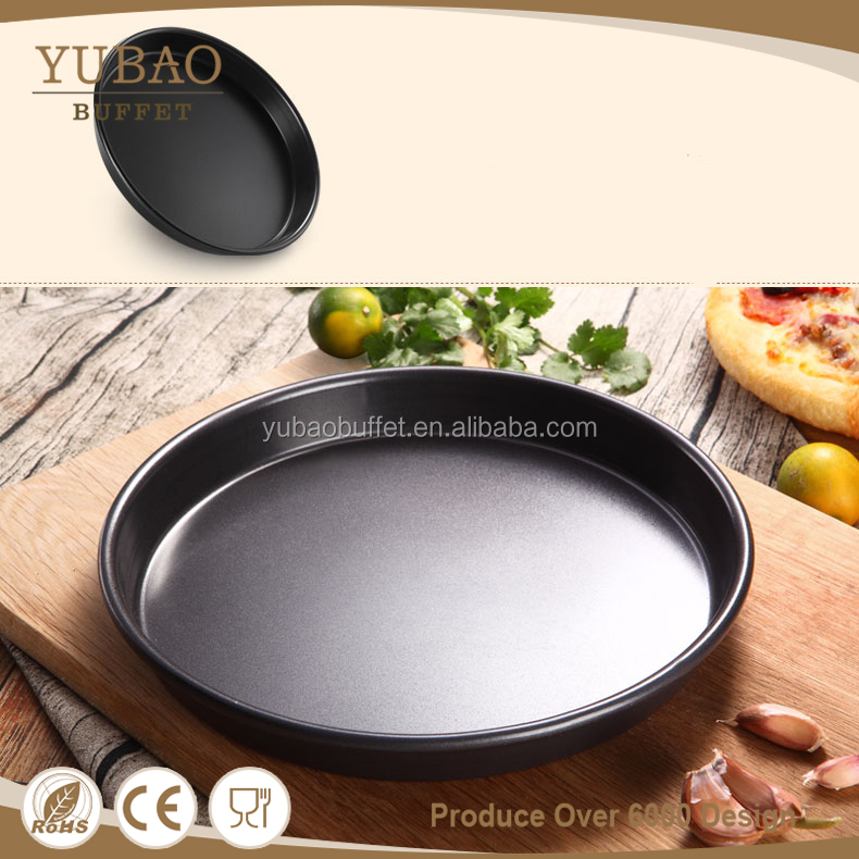 Non-stick round durable cast iron teflon pizza pan, used pizza pans for sale