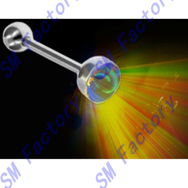 flashing led light up rave tongue barbell ring body piercing jewelry --SMSD329025