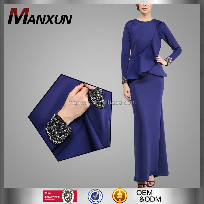 Latest Style Muslim Model Baju Kurung Modern Darker Purple Islamic Clothing Fashion Muslim Beaded On Cuff Baju Malayu Kebaya
