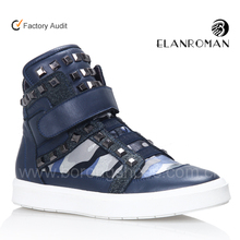 Borong Shoes Men Buckle Strap Sneakers with Studs OEM Leather Shoes and Sneakers Designer Sports Footwear Brand Name Sneakers