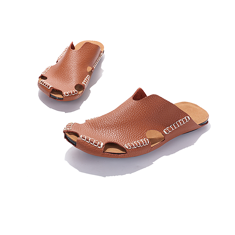 2017 New summer cheap wholesale print private label comfortable sandal man slipper, brown color shoes