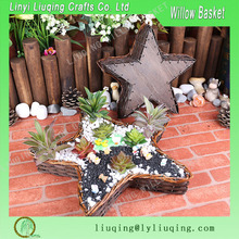 star shape red color wicker flower basket with film