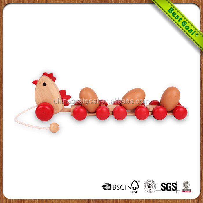 Chicken shape animal Wooden trolley cart Toys for kids