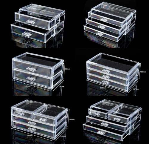Cosmetic Organiser Acrylic Makeup case drawers box Jewelry storage clear cabinet