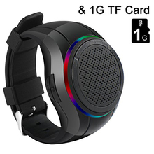 Wearable Wrist Speaker Indoors with LED light MP3 Player FM Radio Handsfree Calls Mp3 Watch Speaker