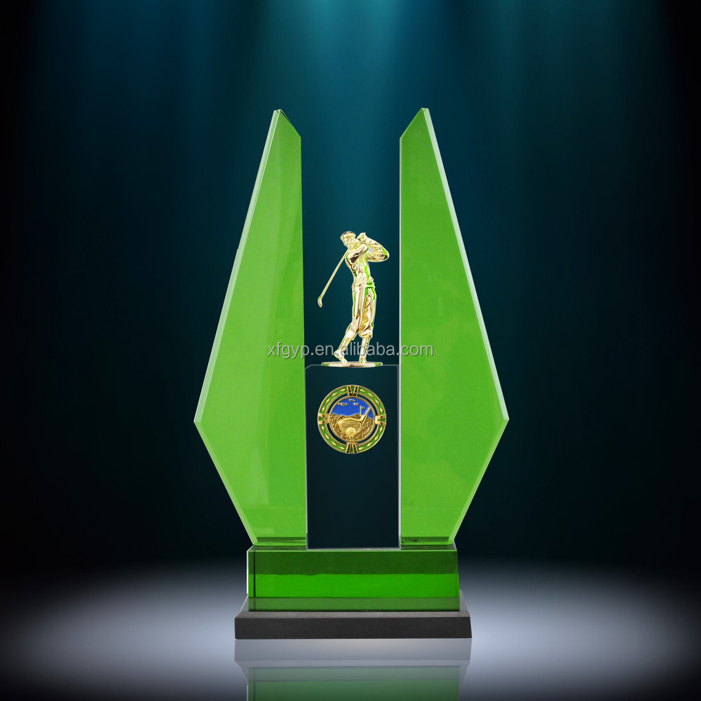 golf swing crystal trophy awards, golf souvenir, golfer figurine