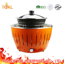 No Smoke Used Florabest Tabletop Korean Barbecue Grill Indoor and Outdoor Smokeless Lotus Charcoal BBQ Grill with Hot Pot