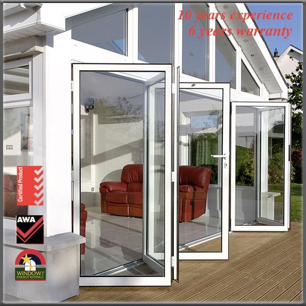Framless Exterior Aluminum Folding Door Glass Aluminum Bi