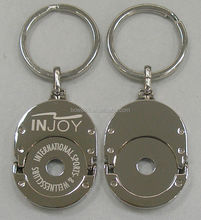 2014 high quality custom metal trolley coin keychain